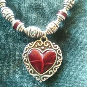 Brighton Park Avenue Red leather silver necklace
